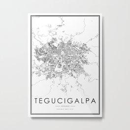 Tegucigalpa City Map Honduras White and Black Metal Print