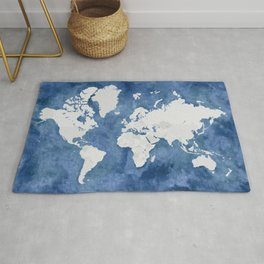 Navy blue watercolor and light grey world map with countries (outlined) Rug