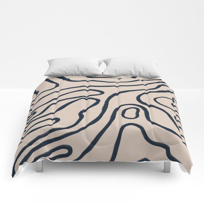 Topographic Map / Nude & Dark Blue Comforters