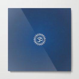 Ohm Symbol Silver on Blue Metal Print