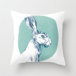 Blue Hare Throw Pillow