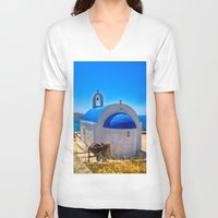 greece V-neck T-shirts featuring Mykonos, Greece by 33bc