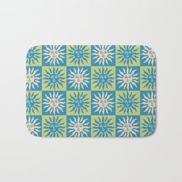 Mid Century Modern Sun Pattern Turquoise and Chartreuse Bath Mat