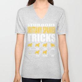 Brittany Spaniel Dog Tricks Funny Gift Unisex V-Neck