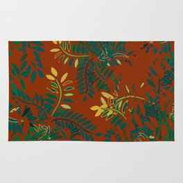 Leafy Madness on Brown Rug
