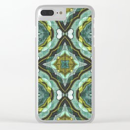 Colorful Chic Retro Abstract Batik Style Kaleidoscope Pattern Clear iPhone Case