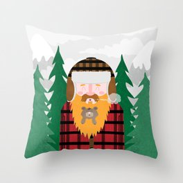 Bear Beard Throw Pillow