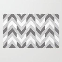 Grey & White Herringbone Chevron Rug