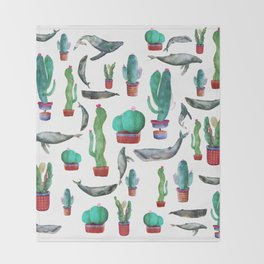 Cactus and Whales Throw Blanket