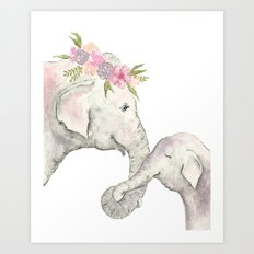 Elephant Mother and Baby Watercolor Art Print