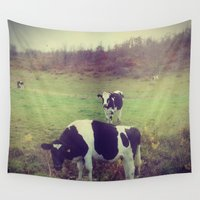 cows Wall Tapestries featuring Rustic Cows by Olivia Joy StClaire