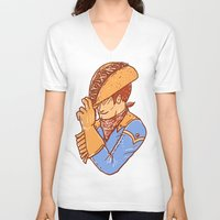 taco V-neck T-shirts featuring Taco Cowboy by Jonah Makes Artstuff