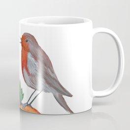 Robins and pumpkin watercolor art Coffee Mug