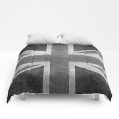 Union Jack  Vintage 3:5 Version in grayscale Comforters