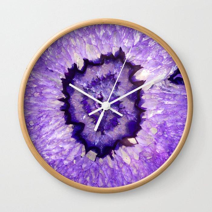 Purple Agate Geode Wall Clock