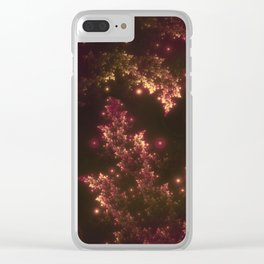 Fractal Leaves Red Glow Clear iPhone Case