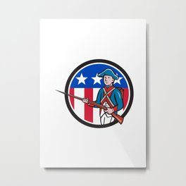 American Soldier Marching Rifle USA Flag Circle Cartoon Metal Print