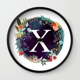 Personalized Monogram Initial Letter X Floral Wreath Artwork Wall Clock