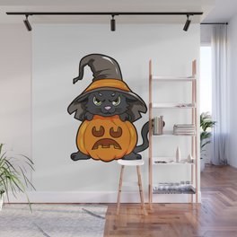 angry kitty Halloween Cat Witch present gift Wall Mural