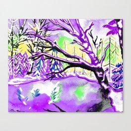 Frozen Pond Winter Landscape - Purple Palette Canvas Print