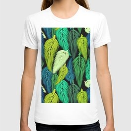 Watercolor Macrame Feather Toss in Black + Green T-shirt