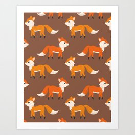 Cute Side View Fox Illustration with Brown Background Art Print