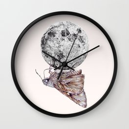 In which a moth is enticed by the light of the moon Wall Clock