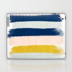 Esther - navy mint gold painted stripes brushstrokes minimal modern canvas art painting Laptop & iPad Skin