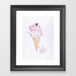 Ice cream Love watercolor illustration summer love pink strawberry Framed Art Print