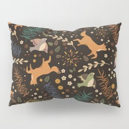 Autumn Woodsy Floral Forest Pattern With Foxes And Birds Pillow Sham