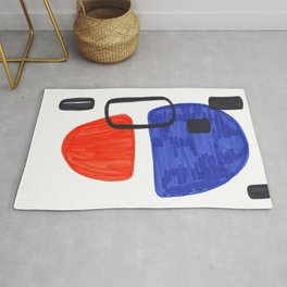 Mid Century Modern Abstract Minimalist Art Colorful Shapes Vintage Retro Style Orange Blue Shapes Rug