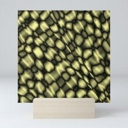 Intersection of pastel drops of a sand grid of dark cracks on glass Mini Art Print