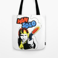 han solo Tote Bags featuring Han Solo by Popp Art