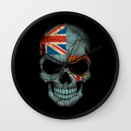 Dark Skull with Flag of Fiji Wall Clock