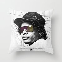 lakers Throw Pillows featuring Eazy Muthafuckin E by Rogemil Velasco