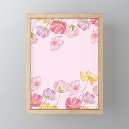 colorful cosmos flwoer in pink background Framed Mini Art Print