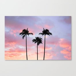 Palm Trees Sunset Photography Canvas Print
