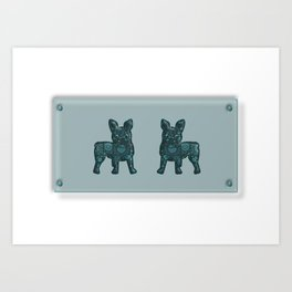 Patches French Bulldog Twins Art Print