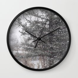Soft snow falling Wall Clock