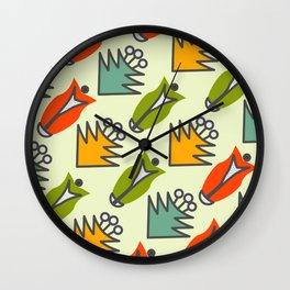 Retro floral shapes Wall Clock