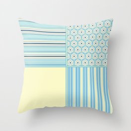 Summer Blues and Yellow Multi Pattern Design Throw Pillow