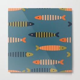 Striped fish - blue Metal Print