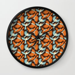 Chickadees in Brown Wall Clock