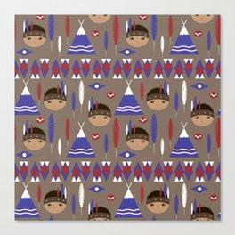 Seamless kids cute American indian native retro background pattern Canvas Print