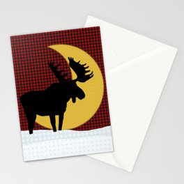 Moose Moon on Black and Red Check Stationery Cards
