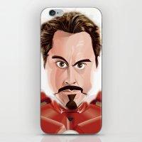 tony stark iPhone & iPod Skins featuring Tony Stark/Iron Man by Greene Graphics