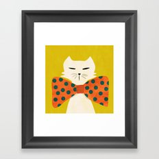 Cat with incredebly oversized humongous bowtie Framed Art Print