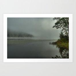 Sunrise Fog on the Lake Art Print