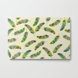 tropical Feathers pattern design yellow Metal Print