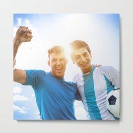 Argentine Soccer players scoring Metal Print